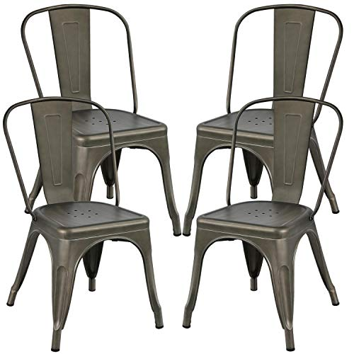 Yaheetech 4er Set Barstuhl Bistrostuhl Stapelstuhl, Stuhl aus Metall Schwarz, Stuhl im Industry-Design, stapelbar