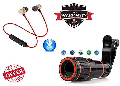 REDWIND Magnetic Neckband, Earphone Bluetooth & Mic with Universal Mobile Telescope Zoom Lens Kit for All Mobile Camera, DSLR Background Effect Macro & Wide Angle Effect Lens [ Android & iOS Devices]