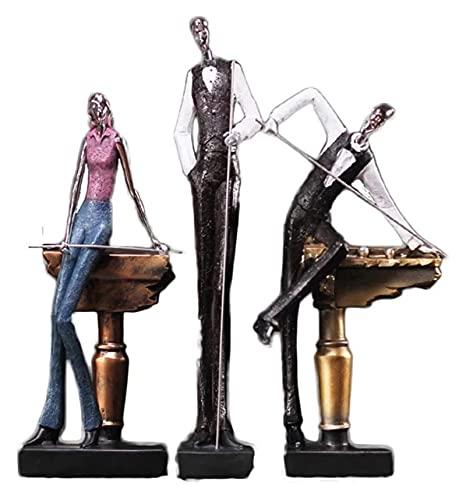 WQQLQX Statue Harz Skulptur Billard Charakter Statue Heimdekoration Zubehör Miniaturfiguren Handwerk Desktop Dekoration Kunst Sporttisch Skulpturen