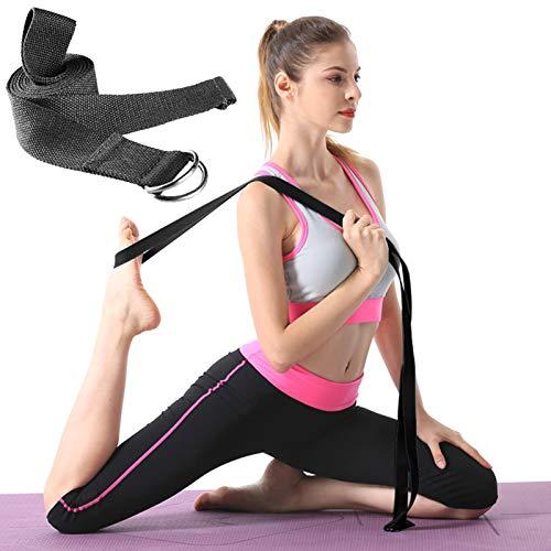 Deiris Correa de Yoga con Hebilla de Anilla en D de 1,83 m, 2,5 m, 3,2 m, Resistente, Ajustable, para Ejercicios de Estiramiento de Yoga, Fitness General, posturas de sujeción,Negro, 3,2 m