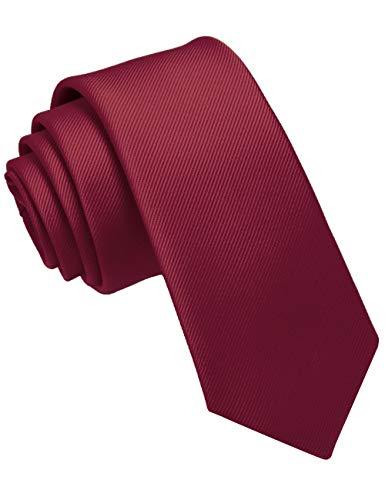 JEMYGINS Krawatte Dunkelrot schmale Krawatten für Herren seide Hochzeit Schlips (6)