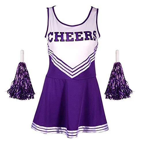 Angel ZYJ Femme Costume de Cheerleader High School Uniforme de Pom-Pom Girl Musical Déguisement Halloween Carnaval Robe Costume 4 Couleurs XS - XXL (Violet, s)