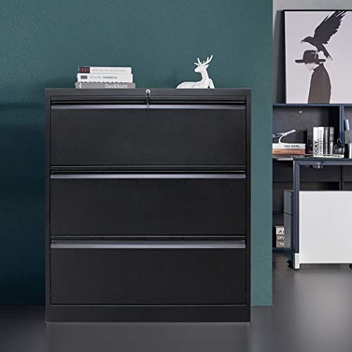 """3 Drawer File Cabinet with Lock, Stainless Steel Full Metal Lateral File Cabinet for Home and Office, 35.43"""" L x 17.72"""" W x 40.28"""" H, Black"""