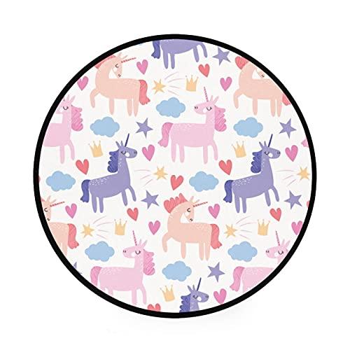 Esterilla redonda antideslizante para gimnasio y juegos de gatear, de gran diámetro, plegable, suave y lavable, organizador de almacenamiento de juguetes, unicornio rosa