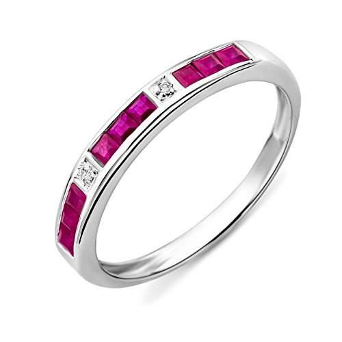 Miore Damen-Ring Memoire 375 Weißgold Rubin und Brillanten Gr. 52 MT019RM