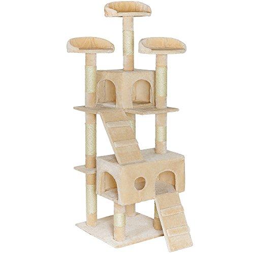 TecTake Tiragraffi per gatto gatti palestra altezza complessiva 170 cm - disponibile in diversi colori - (Beige | no. 401114)