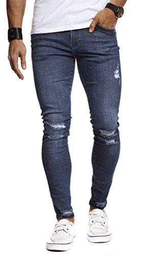Leif Nelson Herren Jeans Hose Slim Fit Denim Blaue graue Lange Jeanshose für Männer Coole Jungen weiße Stretch Freizeithose Schwarze Cargo Chino Sommer Winter Basic LN9145 W33L32 Dunkel Blau