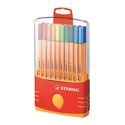Rotulador punta fina STABILO point 88 - Estuche premium Colorparade con 20 colores