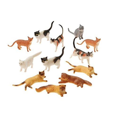 """U.S. Toy Assorted Plastic 2"""" Cat Figure Toys (2-Pack of 12)"""