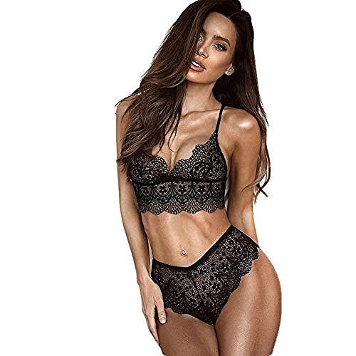 Erotica Babydoll Ropa Interior Sexy Lencería Vestido Mujer Sexy Body Baby Doll para Mujer Lencería Sexy Perspectiva De Encaje Sexy Conjunto De Sujetador De Bikini De Tres Puntos-Black_Large