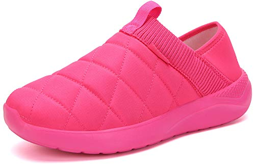 KUBUA Slippers for Men and Womens Indoor House Shoes Plush Slip on Outdoor Garden Loafers Pink