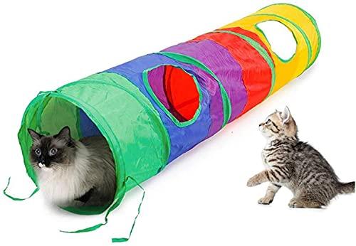 CNMYDZ Bunte Zusammenklappbare Katzen-Tunnel Tragbar Ansteckbar 2 Peek Loch Kätzchen Spielzeug Fun Ballspiel IndooroutDoorEasy to Speichern