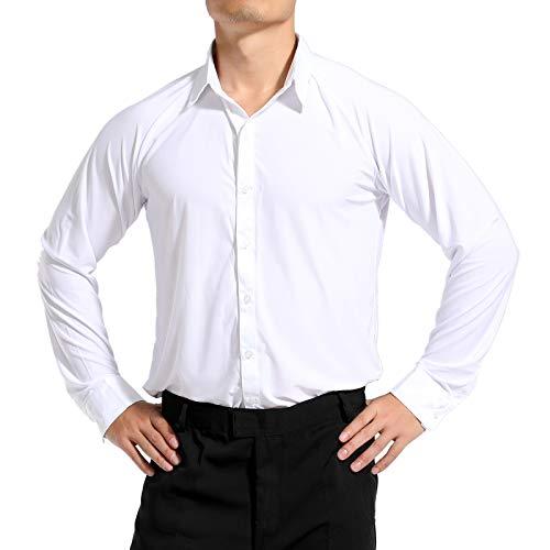Hao Run Men Dance Shirt Ballroom Modern Salsa Samba Latin Long Sleeve Dancewear (White, US XS/Asia M: Bust: 93-95cm/36.6-37.4 inches)
