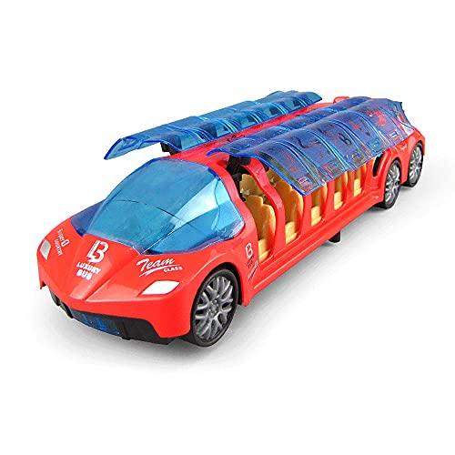 KGUANG Autobús de lujo de juguete para niños, Coche de juguete para caminar con rueda universal eléctrica, Música, Luces frescas, Coche de insectos de dibujos animados, Abridor de puerta automático, C