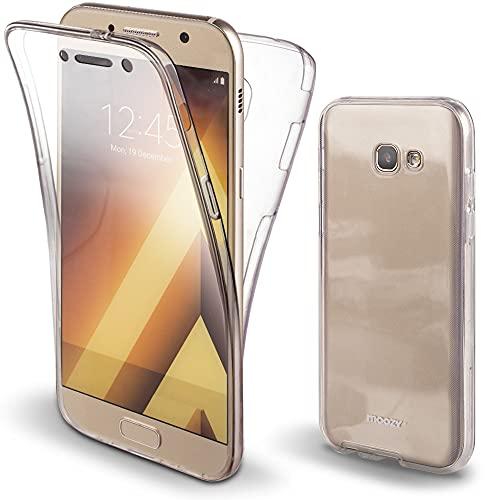 Moozy Cover Protezione 360 Gradi per Galaxy A5 2017 Silicone Trasparente - Full Body Custodia TPU Case Copertura Completa