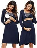 Akalnny Stillnachthemd Damen Lang Umstandsnachthemd Baumwolle Nachthemd Mutterschaft Schwangerschaft mit Stillfunktion für Schwangere