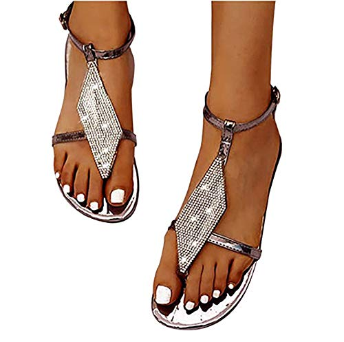 ZRSH Women Sandals Rhinestone Summer Flat T Strap Back strap Sandals Bohemian Thong Casual Hasp Beach Shoes,003,43EU