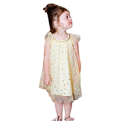 Vovotrade® Enfants Kid Infantile Filles Children Kid Infant Girls Star Print Bling Net Fil Princesse Robe Vêtements Dress Clothes (Yellow, 24M)