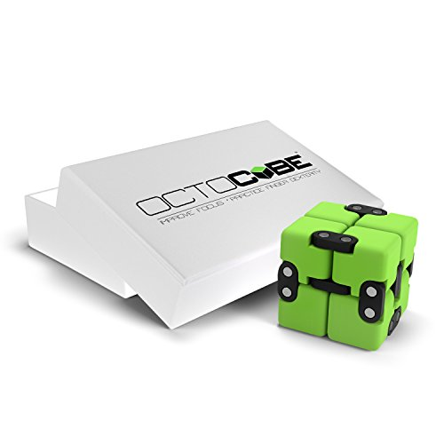 OCTOCUBE Infinity Cube Fidget Toy Limited Edition - Cool Gadget for Kids, Adults - Prime Sensory Infinite Stress Relief | Prime Pressure Reduction for ADHD, Autism, Quit Smoking - Green Rubber Coated