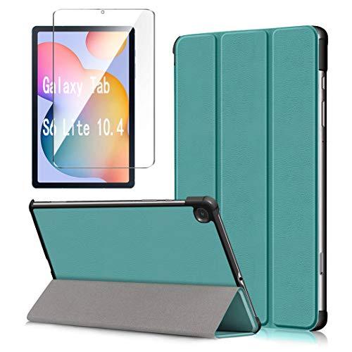 """LJSM Custodia + Vetro Temperato per Samsung Galaxy Tab S6 Lite 10.4"""" P610 / P615 - Pellicola Protettiva, Guscio Supporto Protettiva Tablet Cover in Pelle Flip PU Case - Darkgreen"""