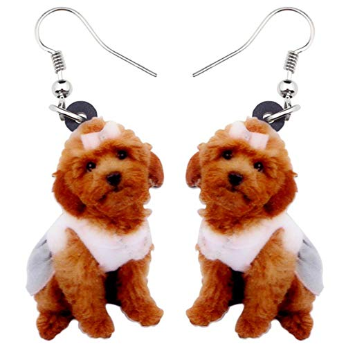 ZHWM Ohrringe Ohrstecker Ohrhänger Acryl Sweet Sitting Teddy Pudel Ohrringe Big Long Dangle Drop Neuheit Schmuck Für Frauen Mädchen Damen Kinder Tier