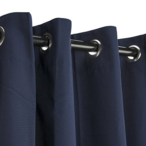 """Sunbrella Outdoor Curtain with Grommets -Nickle Grommets - Navy 50x108"""""""