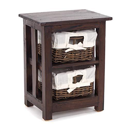 Design Delight - Armadietto da bagno in legno massiccio, con 2 cassetti in rattan | mogano, 50 x 38 x 29 cm (altezza x larghezza x profondità), colore: 03 marrone scuro