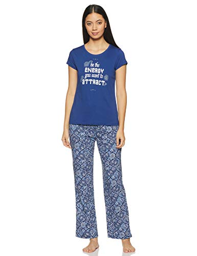 Max Women's Casual Pajama Top (PINK17AZBLUE_Blue 1_L)