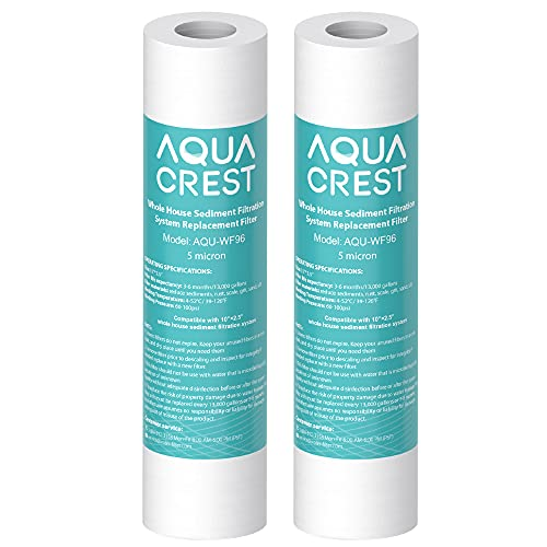 """5 Micron 10"""" x 2.5"""" Whole House Sediment Water Filter, Replacement for Any 10 inch RO Unit, Culligan P5, Aqua-Pure AP110, Dupont WFPFC5002, CFS110, RS14, WHKF-GD05, Pack of 2"""