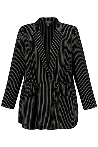 Ulla Popken Damen große Größen Blazer, Streifen, offene Form, Langarm, Selection schwarz 56 747694 10-56
