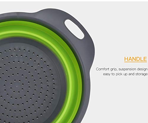 Kitchen Collapsible Colander Set of 3, HJYuan Silicone Colander Strainer Over the Sink Food Folding Water Filter Basket… 6 【 Foldable and Space Saving Design】Ergonomic, space-saving design. Strainers are foldable, so they do not take up much room in your kitchen cupboards. 【Safe and Comfortable】Using environmentally friendly Rubber and plastics materials,no smell.And it is very soft and comfortable. Closed home partner for life. 【Easy to Use】This round colander used for draining most foods like spaghetti, pasta, potatoes, broccoli, green beans, carrots, spinach and other veggies, to rinse your salad leafs, fruits and fresh vegetables.