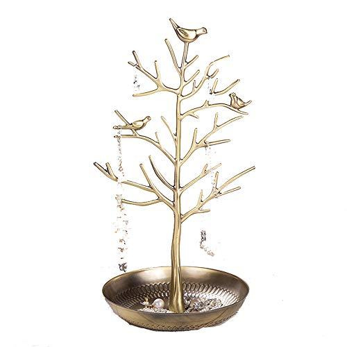 SANJIBAO Schmuckständer - Schmuckständer Baum Ohrringe Halskette Armband Schmuckständer Hängegestell Gestell Turm,Bronze