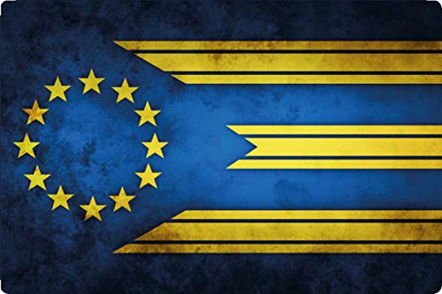Metalen bord 30x20cm EU vlag Europese Unie vaandel retro bord vintage
