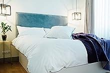 Funda nórdica - Blanca con remate en Blanco/Color - 100% algodón percal 200 Hilos - Fabricado en EU (Blanco, Cama de 180)