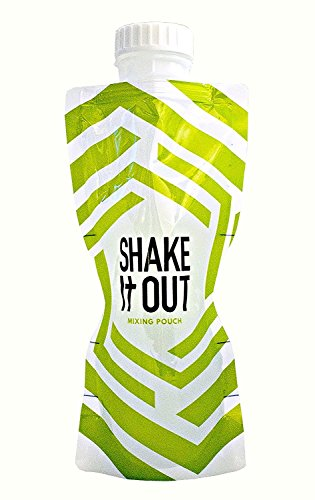Shake It Out Collapsible Shaker Bottle for Protein Shakes, Supplements - 12 Ounce Reusable, Recyclable, Travel Bottle (Lime/White, 7 Pack)