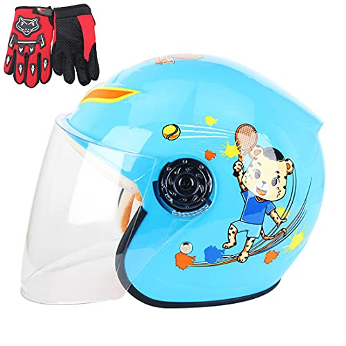 HUIGE Casco De Motocicleta para Niños, Medio Cascos De Bicicleta para Niños, Cascos De Seguridad para Niños Four Seasons Ligeros Y Cómodos para Niños De 3 A 6 Años (50-53 Cm),Azul