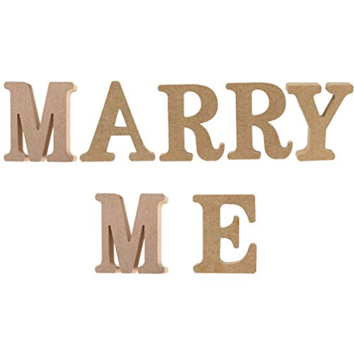 STOBOK 7 Piezas Marry Me Sign Madera Letras Artesanía Piezas sin Terminar Colgante Palabras Propuesta Signo para DIY Aniversario Compromiso Boda Exhibición Decoración