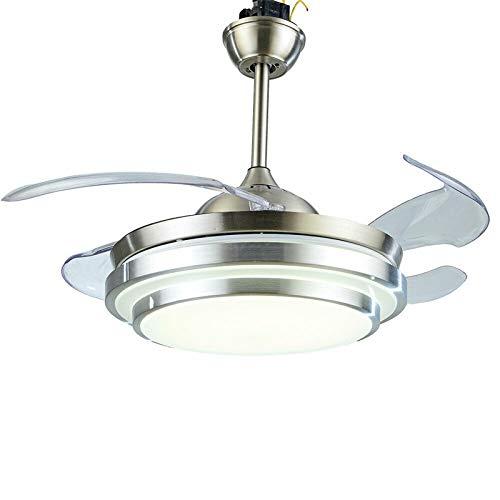 Ventilador de techo con 4 aspas LED, iluminación con mando a distancia, luz regulable, lámpara de techo con aspas retráctiles, para comedor, salón, despacho, cocina