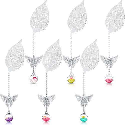 6 Pieces Metal Leaf Bookmarks Reading Page Bookmarker Butterfly Pendant Bookmark with Glass Bead Dried Flower Pendant for Students Readers Small Present (Silver)