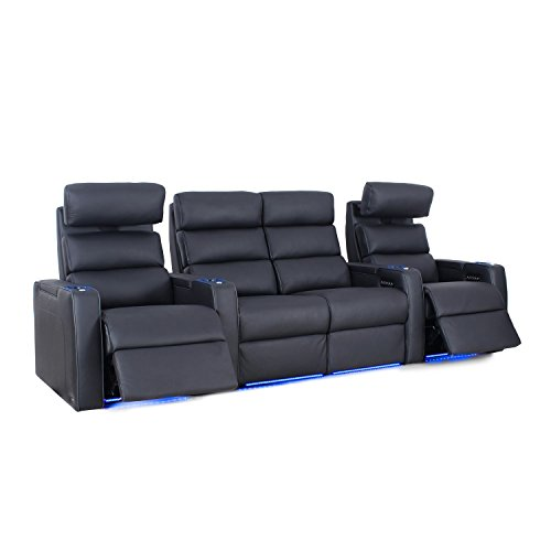 Octane Seating Dream HR Home Theatre Seats - Black Top Grain Leather - Power Recline - Lighted Drink Holders - Row of 4 with Center Loveseat