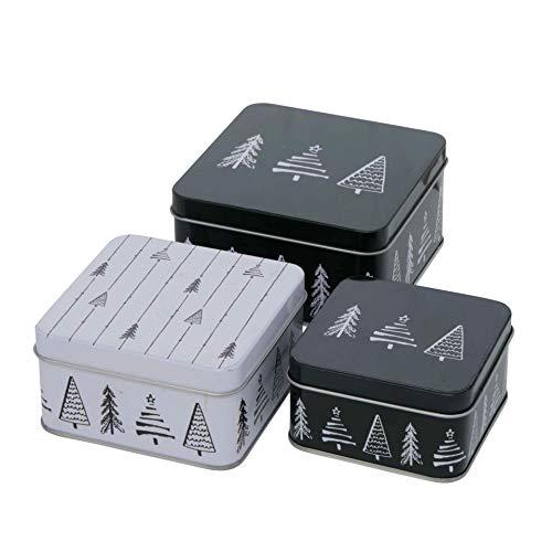 3er Set Metall Keksdose Plätzchendose eckig schwarz weiß Tannenbaum sortiert 9-12cm