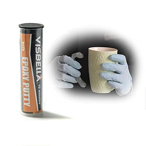 Visbella Pegamento epoxi moldeable epoxi para fijación de daños por grietas, relleno o sellado, reparación permanente rápida para metal, vidrio, madera, plástico, cerámica y otras superficies