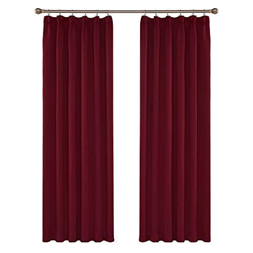 Amazon Brand - Umi 2 Stück Verdunkelungsvorhang Thermogardine mit Kräuselband Gardinen Schlafzimmer 214x132 cm (LxB) Rot