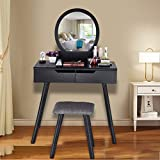 Eoeth Multifunction Vanity Table Set Flip Top Round Mirror Makeup Dressing Writing Desk with 2 Large Sliding Drawers Cushioned Stool Removable Organizers Easy Assembly (Ship by USA) (Black) Free Post
