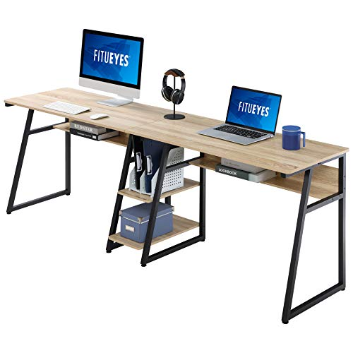 FITUEYES Computer Desk for Two Person Wood Oak with Storage Double Workstation Table for Home Office 206x50,5x75cm CD120606MO
