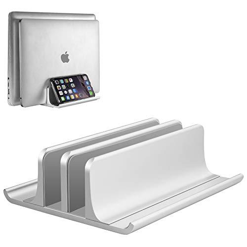 Vaydeer Vertikaler Laptop Ständer, Verstellbarer Laptop Ständer Vertikal, Aluminium 4 in 1 Laptopständer mit 2 Steckplatz Platzsparend für MacBook, Notebook, iPad, Laptops bis zu 17,3 Zoll - Silber