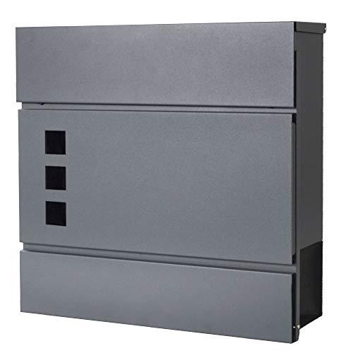 SPRINGOS Briefkasten mit Zeitungsfach|Postkasten|37,5 x 36,5 x 11 cm|Anthrazit Matt|Modern|Wandbriefkasten|Doppelfunktion-Briefkasten|Stahldesign (Anthrazit Matt) (Anthrazit - Design 15)
