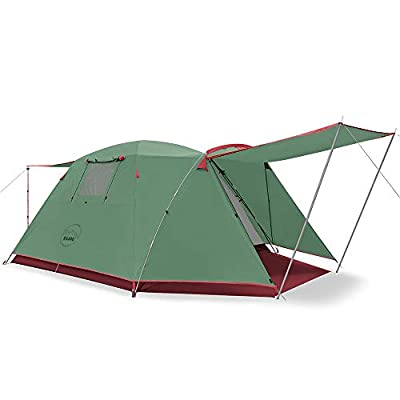 KAZOO Outdoor Camping Tent Durable Waterproof, Family Large Tents 4 Person, Easy Setup Tent with Porch Double Layer (Green)