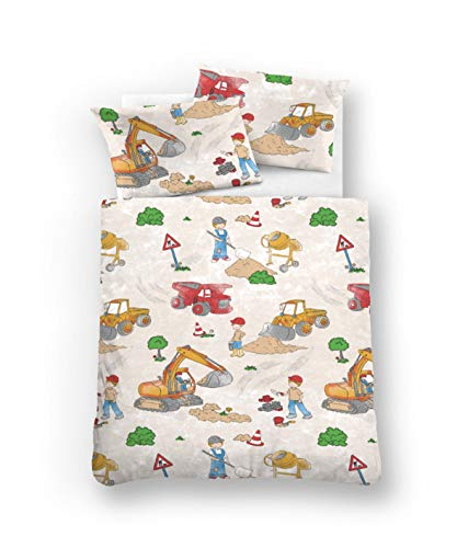 biberna 0007232 Bettwäsche Garnitur mit Kopfkissenbezug Kids & Teens Feinbiber 1x 135x200 cm + 1x 80x80 cm, taupe