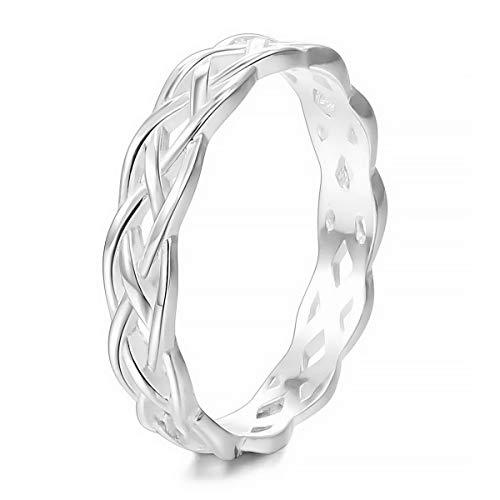 MunkiMix 925 Sterling Silber Band Ring Silber Ton Triquetra Irisch Keltisch Knoten Dreiecksknoten Ewigkeit Ewig Hochzeit Lieben Größe 54 (17.2) Damen